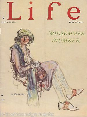 FLAPPER LADY MORGAN COVER ART ANTIQUE GRAPHIC ILLUSTRATED LIFE MAGAZINE 1922 - K-townConsignments