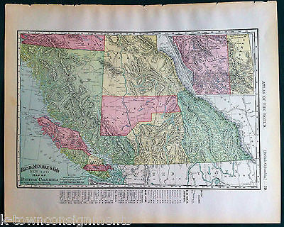 British Columbia Province Antique 1898 Graphic Illustration Map Atlas Print - K-townConsignments