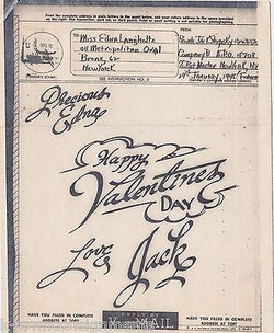 HAPPY VALENTINE'S DAY LOVE JACK VINTAGE WWII SOLDIERS GRAPHIC ART V-MAIL LETTER - K-townConsignments