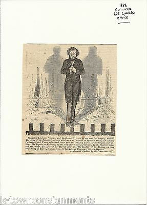 ABRAHAM LINCOLN ARMY OF POTOMAC IRONIC THEATRE STAGE POLITICAL CARTOON - K-townConsignments