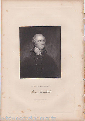 THOMAS GRENVILLE RIGHT HONORABLE ANTIQUE SIGNATURE ENGRAVING PRINT 1835 - K-townConsignments