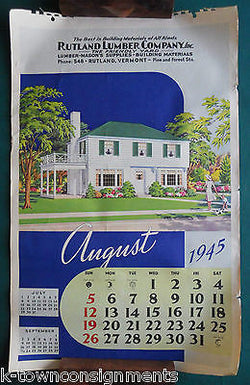 VT REAL ESTATE LUMBER VINTAGE 1940s GRAPHIC ADVERTISING JUMBO CALENDAR PRINT - K-townConsignments