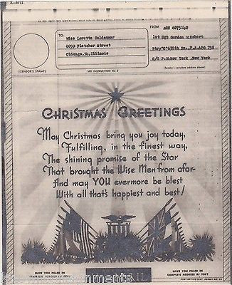 MERRY CHRISTMAS POEM VINTAGE PATRIOTIC WWII SOLDIERS GRAPHIC ART V-MAIL LETTER - K-townConsignments