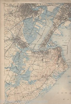 STATEN ISLAND CLIFTON UNION NEW JERSEY NY ANTIQUE US GEOLOGICAL SURVEY MAP 1932 - K-townConsignments