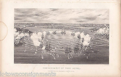 CIVIL WAR PORT ROYAL MILITARY NAVAL SHIP BATTLE ENGRAVING PRINT BY S.V. HUNT - K-townConsignments