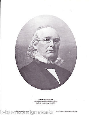 Horace Greeley American Journalist & Politician Vintage Portrait Gallery Poster - K-townConsignments