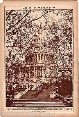WASHINGTON DC CAPITOL BUILDING & CITY MAP ANTIQUE 1920s NEWS PHOTO POSTER PRINT - K-townConsignments