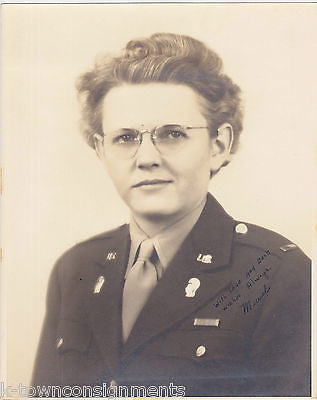MURIEL US ARMY WWII MILITARY WOMAN IN UNIFORM VINTAGE AUTOGRAPH SIGNED PHOTO - K-townConsignments