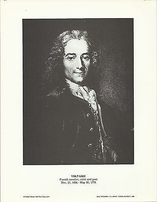 Voltaire French Novelist, Critic and Poet Vintage Portrait Gallery Poster Print - K-townConsignments