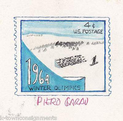 1964 WINTER OLYMPICS SKIING VINTAGE PAINTED POSTAGE STAMP ART DRAWING SKETCH - K-townConsignments