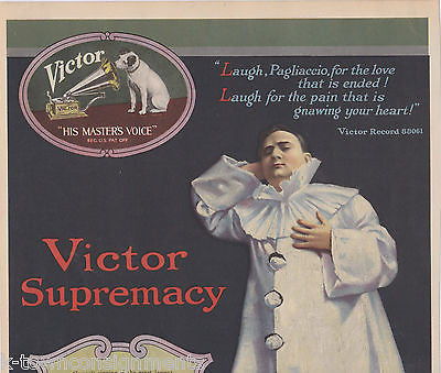 CARUSO AS CANIO IN PAGLIACCI VINTAGE VICTOR RECORDS GRAPHIC AD POSTER PRINT - K-townConsignments