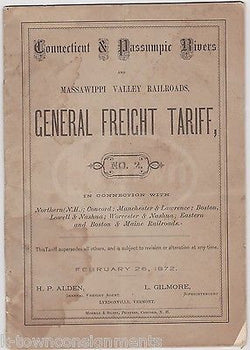 CONNECTICUT RIVERS RAILROAD MASSAWIPPI VALLEY ANTIQUE RR TARIFF RATES BOOK 1872 - K-townConsignments