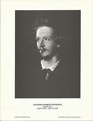 Algernon Charles Swinburne English Poet Vintage Portrait Gallery Poster Print - K-townConsignments