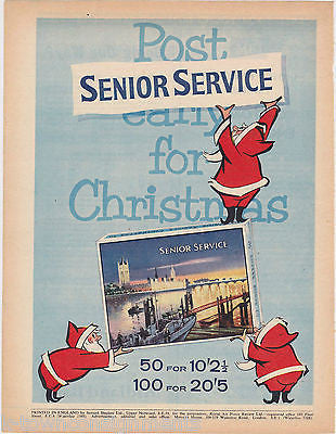 SENIOR SERVICE CIGARETTES SANTA CHRISTMAS VINTAGE GRAPHIC ADVERTISING PRINT - K-townConsignments
