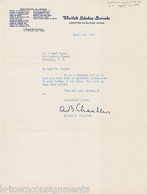 ALBERT HAPPY CHANDLER MLB COMMISSIONER KENTUCKY SENATOR AUTOGRAPH SIGNED LETTER - K-townConsignments