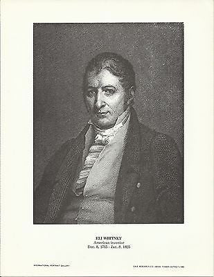 Eli Whitney American Inventor Vintage Portrait Gallery Poster Print - K-townConsignments