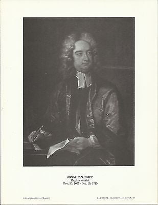 Jonathan Swift English Satirist Vintage Portrait Gallery Poster Print - K-townConsignments