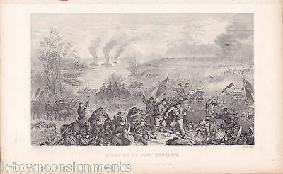CIVIL WAR BATTLE FORT DONELSON TN UNION VICTORY SCENE ANTIQUE ENGRAVING PRINT - K-townConsignments