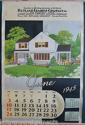 1940s ERA REAL ESTATE ARCHITECTURE VINTAGE GRAPHIC ADVERTISING CALENDAR POSTER - K-townConsignments