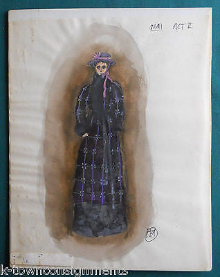 MIMI LA BOHEME OPERA ORIGINAL SIGNED HAL GEORGE THEATRE COSTUME DESIGN PAINTING - K-townConsignments