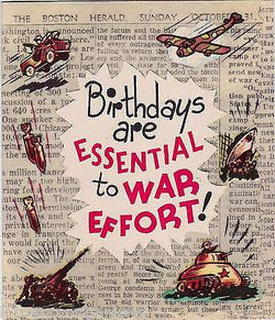 WWII HOME FRONT O.P.A. HUMOR VINTAGE TANKS PLANES ART GRAPHIC BIRTHDAY CARD - K-townConsignments
