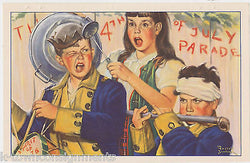 4th OF JULY PARADE BOYS & GIRLS HUMOROUS VINTAGE SAMBROOK GRAPHIC ART PRINT - K-townConsignments