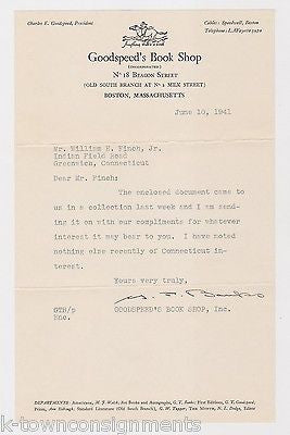 CHARLES GOODSPEED BOOK SHOP BEACON ST BOSTON AUTOGRAPH SIGNED STATIONERY LETTER - K-townConsignments