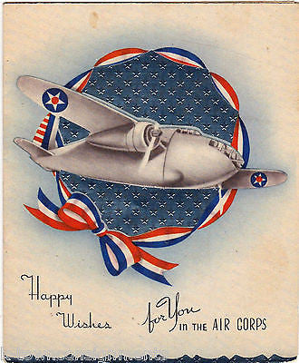 HAPPY WISHES FOR YOU IN AIR CORPS VINTAGE WWII SOLDIER GRAPHIC GREETINGS CARD - K-townConsignments