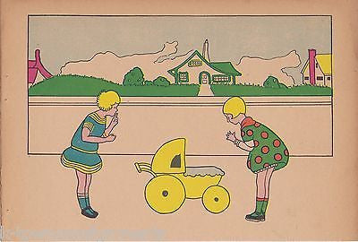LITTLE GIRLS NEIGHBORHOOD STREET PLAY TIME ART DECO GRAPHIC ART NURSERY PRINT - K-townConsignments