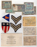 LINCOLN ARMY AIR FIELD SOLDIERS ID CARDS & MILITARY PATCHES LOT & OCCUPIED MONEY - K-townConsignments