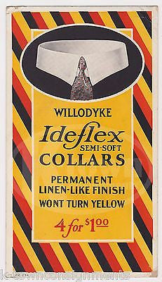 IDE FLEX WILLODYKE FINE COLLARS ANTIQUE CLOTHING GRAPHIC ADVERTISING POSTER CARD - K-townConsignments