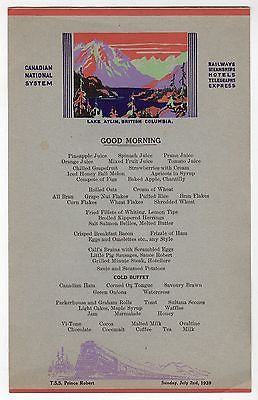 CANADIAN NATIONAL RAILWAYS LAKE ATLIN ANTIQUE GRAPHIC ART BREAKFAST MENU 1939 - K-townConsignments