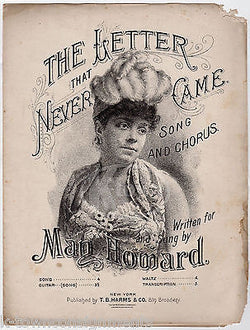 MAN HOWARD THE LETTER THAT NEVER CAME ANTIQUE ENGRAVING SHEET MUSIC 1886 - K-townConsignments
