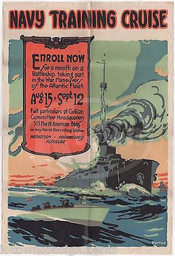 WWI NAVY TRAINING CRUISE RECRUITMENT POSTER BY RUTTAN & NAVAL DOCUMENTS LOT 1916 - K-townConsignments