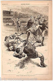 EARLY AMERICAN FOOTBALL GAME TACKLE ANTIQUE GRAPHIC ENGRAVING POSTER PRINT 1883 - K-townConsignments