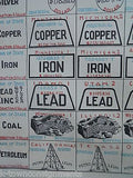 AMERICAN LIVESTOCK CATTLE OIL COAL GOLD MINERALS ANTIQUE GRAPHIC CHART POSTER - K-townConsignments