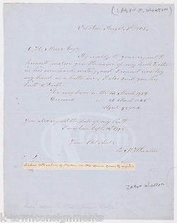 LABAN WHEATON COLLEGE FOUNDER WAR 1812 CONGRESS AUTOGRAPH SIGNED LETTER 1853 - K-townConsignments