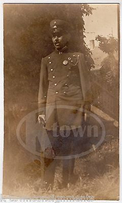 UNIDENTIFIED POLICE OR FIREMAN IN UNIFORM LARGE ANTIQUE SNAPSHOT PHOTOGRAPH - K-townConsignments