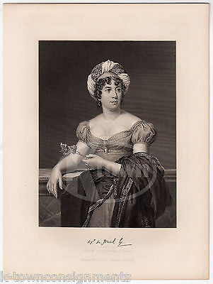 MADAME DE STAEL FRENCH WOMAN OF LETTERS ANTIQUE PORTRAIT ENGRAVING PRINT BIO - K-townConsignments