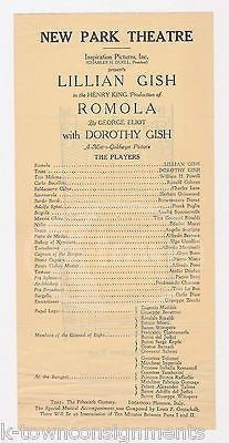 LILLIAN GISH DOROTHY GISH ROMOLA ACTRESS ANTIQUE NEW PARK THEATRE ADVERTISING - K-townConsignments