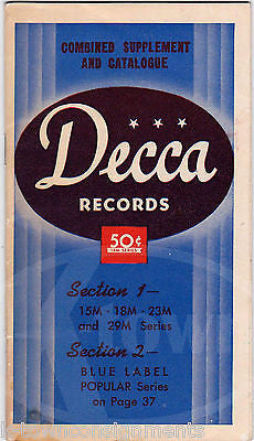 FRED WARING JIMMY DORSEY BIG BAND MUSIC VINTAGE DECCA RECORDS CATALOGUE 1942 - K-townConsignments