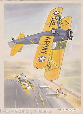 STEARMAN PT-1 3B-17 & 18 ARMY PLANES WWII MILITARY AVIATION GRAPHIC ART PRINT - K-townConsignments