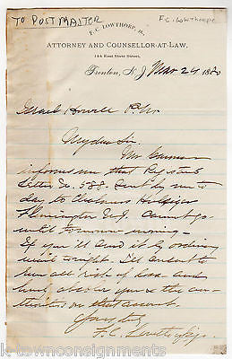 F. C. LOWTHORP TRENTON NJ LAWYER ANTIQUE AUTOGRAPH SIGNED LETTER TO POSTMASTER - K-townConsignments