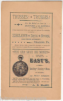 Ziegler's Drug Store East's Watches Reading PA Antique Graphic Advertising Print - K-townConsignments