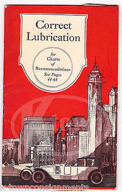 MOBILE OILS CORRECT LUBRICATION ANTIQUE GRAPHIC ADVERTISING AUTO SALES GUIDE - K-townConsignments