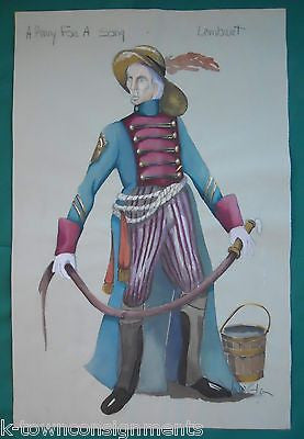 SIR LAMBERT A PENNY FOR A SONG THEATRE COSTUME DESIGN SKETCH PAINTING SIGNED - K-townConsignments