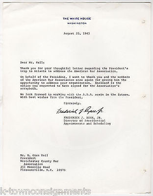 FREDERICK RYAN WHITE HOUSE SCHEDULING DIRECTOR AUTOGRAPH SIGNED LETTER 1983 - K-townConsignments