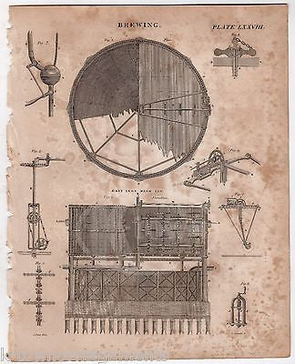 BEER BREWERY BREWING CAST IRON MASH APPARATUS DESIGN ANTIQUE ENGRAVING PRINT - K-townConsignments