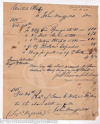 COLONEL JEFF THOMAS GEORGIA MILITIA WAR 1812 AUTOGRAPH SIGNED PAYMENT DOCUMENT - K-townConsignments