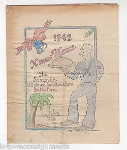 7th US NAVAL CONSTRUCTION BATTALION VINTAGE WWII GRAPHIC CHRISTMAS DINNER MENU - K-townConsignments